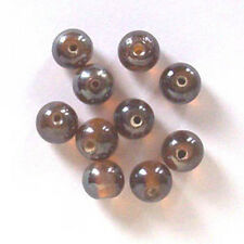 50 of: 10mm round lustered glass beads, dark topaz, for jewellery making etc