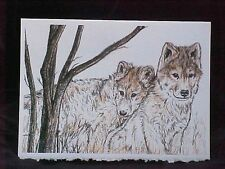 Wolf Puppy Art Print Card Frameable Blank Greeting Card 5x7