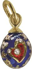 Faberge Egg Pendant / Charm Heart with crystals 1.5 cm #0972