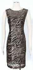 Calvin Klein Black Gold Sheath Dress Size 14 Cocktail Sequined Women's New*