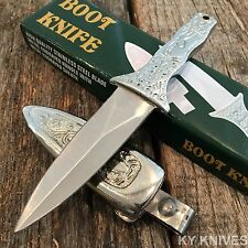 STAINLESS STEEL Small Boot Knife Metal Engraved Handle and Sheath 202892 -w