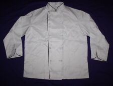 Chef Coat Large White Long Sleeve 10 Button Jacket Polyester Blue Piping L