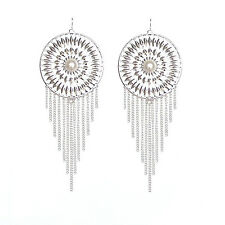 Stunning massive dream catcher style silver and white tassel chandelier earrings