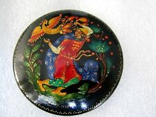 Russian Lacquer Hand Painted Signed PALEKH 1978 year Set - Pin Brooch and Ring