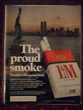 1976 Print Ad L&M Cigarettes ~ New York City Statue of Liberty & Twin Towers