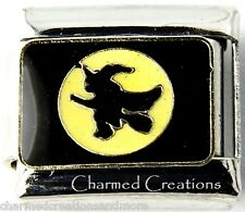 Flying Witch Hat And Broom Moon Halloween 9mm Italian Charm Stainless Steel Link