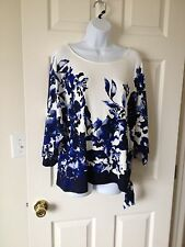 Chicos Floral Wash Blue Grotto & White East West Side Tie Top Sz 2 = 12 / 14 NWT