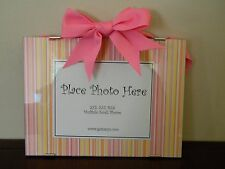 New Stripe Pattern Photo Picture Frame Pink Orange Yellow White Ribbon Bow Girl