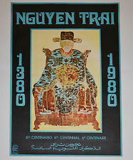 1980 Original Cuba Political Poster.Cold War Graphic art.Vietnam Nguyen Trai