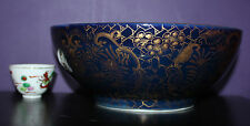 "A Rare 10.8"" Gold Gilt veins on Underglazed Blue + Enamel Chinese Punch Bowl"