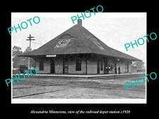 OLD LARGE HISTORIC PHOTO OF ALEXANDRIA MINNESOTA, RAILROAD DEPOT STATION c1920