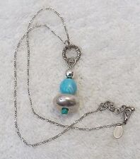 CLASSIC NECKLACE COSTUME STONE BEADED DETAILED SILVER TONE CHAIN LINK BL VL-CHO
