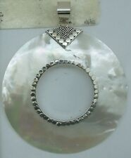 a MOTHER OF PEARL Pendant Donut Round Handcrafted  in 925 Silver (New)