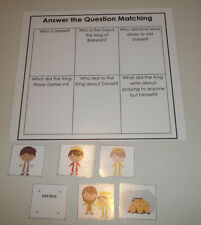 Daniel and the Lions Den themed Answer the Question laminated learning game. Ne