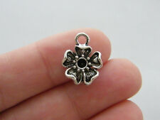 BULK 50 Flower connector charms antique silver tone F142