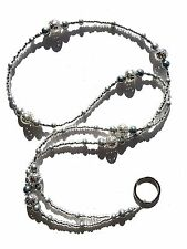 Silver Filigree & Pewter Pearl Beaded ID Lanyard Badge Holder Nurse Teacher Gift