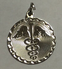 Spencer Sterling Silver Caduceus Disc Charm Pendant