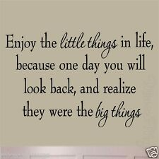 Enjoy the Little Things in Life Wall Decal Quotes Inspirational Vinyl Lettering
