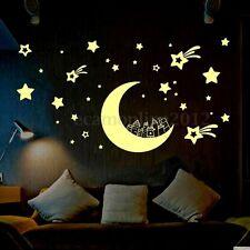 ADESIVI MURALI Parete brillano al buio Wall Sticker Fluorescenti Luna e Stella