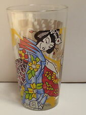 Ed Hardy by Christian Audigier Black Dragon/Tiger Geisha Girl Drinking Glass EUC
