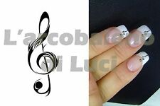 20 AUTOCOLLANTS POUR ONGLES CLEF DE SOL VIOLON NAILS ART KEY STICKERS MANUCURE