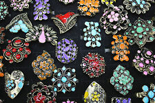 Fashion mixed lots 20pcs colorful enamel alloy hollow adjustable women's rings