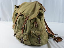 Vintage Army Green Canvas w/ Leather Straps Framed Military Backpack Camping Bag