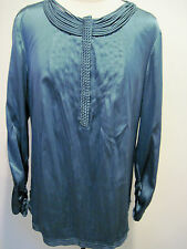 Elie Tahari CLAUDIN Green Silk Stretch  Woven Pleated Blouse Size L  $248