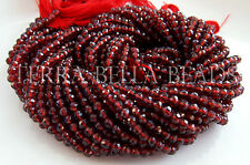 "13"" strand MOZAMBIQUE GARNET faceted gem stone round beads 3.5mm - 4mm red"