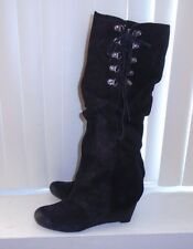 Naughty Monkey Black Suede After Summer Slouchy Knee High Boots Size 9.5 NWOB