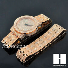 HIP HOP ICED OUT MEEK MILL LAB DIAMOND ROSE GOLD WATCH & BRACELET SET S003