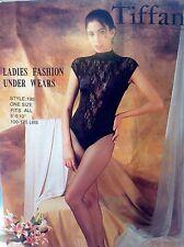 Women HighQuality Bodysuit Tiffany Fashions One Size Black Velvet&Fishnet Taiwan