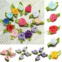 100pcs Mini Satin Ribbon Rose Flower Leaf Wedding Decor Appliques Sewing DIY UK