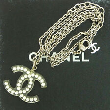 Auth CHANEL CC Logos Chain Necklace Plastic Silver Plated 05P Accessory 02S015
