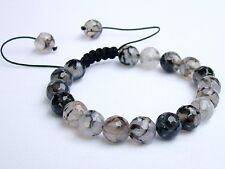 Men's Shamballa bracelet all 10mm Natural Gemstone Dragon Veins Agate Beads