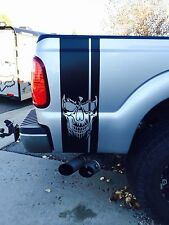 Truck Rear Bed Side L/R Skull Race Stripe Vinyl Decal Sticker Ford Dodge Chevy