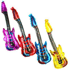 4pcs Neon Inflatable Blow Up Guitars Fancy Dress Party Prop Musical Disco Rock