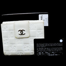Authentic CHANEL CC Icon Camellia Bifold Wallet Purse Leather White Italy 07S647