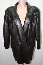 MANTEAU EN CUIR NOIR 40 L VESTE COAT LEATHER MOTO / 2