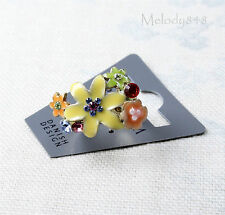 Vintage PILGRIM Adjustable Ring ENCHANTED FLOWER Colourful/Gold Swarovski BNWT