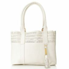 Calvin Klein Handbags Pebbled Leather Perforated Tote w/ Removable Pouch WHITE
