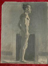 Disegno a Carboncino 1930 Profilo Statua raffigurante Corpo Nudo Maschile 63x48