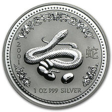 2001 1 oz Silver Australian Perth Mint Lunar Year of the Snake Coin - SKU #1103