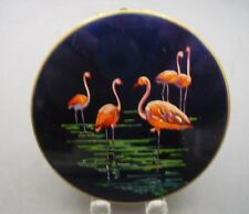 VINTAGE STRATTON Blue Enamel Powder Compact Mirror Pink Flamingo Makeup 1950s