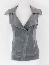 Juicy Couture NWT $128 Sz M Heathered Grey Velour Motorcycle Vest 073