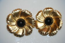 VINTAGE EXTRA LARGE COUTURE GOLD TONED METAL FLOWER BLACK CABOCHON CLIP EARRINGS