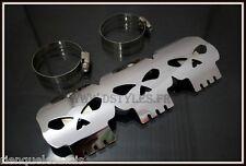 Cache pot - pare chaleur Tête de Mort Skull pour moto custom - NEUF