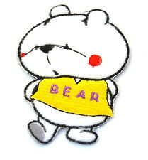 CARTOON WHITE POLAR BEAR  Embroidered Iron Sew On Cloth Patch Badge  APPLIQUE