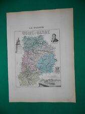 SEINE ET MARNE CARTE ATLAS MIGEON Edition 1885, Carte + fiche descriptive