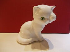 Old ceramic Art pottery Portugal ? cat with green glass eyes